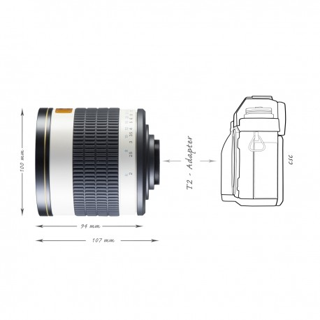 Lenses - walimex pro 500/6,3 DSLR Mirror C-Mount white - quick order from manufacturer