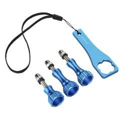 Stiprinājumi - mantona GoPro screw set + key aluminium blue - ātri pasūtīt no ražotāja