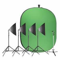 комплект освещения с фоном - walimex pro Video Greenscreen Set Ambitious - быстрый заказ от производителя