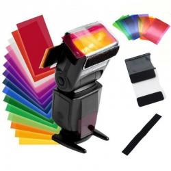 Krāsainie filtri kameras zibspuldzēm 12 gab. ar stiprinājumu LS-30