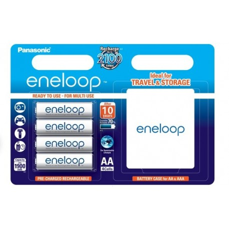 Kameras akumulatori un gripi - Rechargeable batteries Panasonic ENELOOP BK-3MCCE/4BE (4xAA) w/BOX - perc veikalā un ar piegādi