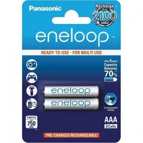 Kameras akumulatori un gripi - Rechargeable batteries Panasonic ENELOOP BK-4MCCE/2BE (2xAAA) - perc veikalā un ar piegādi