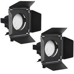LED прожекторы - walimex pro Set of 2 LED Spotlights + Barn Doors - быстрый заказ от производителя