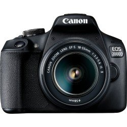 Spoguļkameras - Canon EOS 2000D + 18-55mm IS II Kit, melns - perc veikalā un ar piegādi