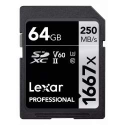 Atmiņas kartes - LEXAR PRO 1667X SDXC UHS-II U3 (V60) R250/W120 64GB - buy today in store and with delivery