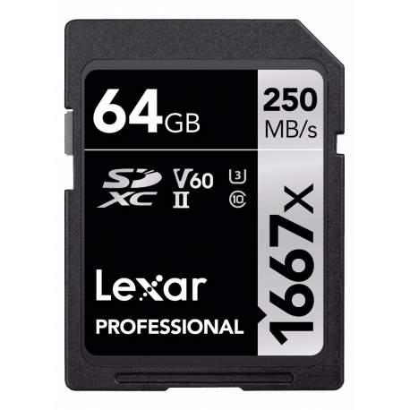 Atmiņas kartes - LEXAR PROFESSIONAL SDHC / SDXC 1667X UHS-II 64GB - perc šodien veikalā un ar piegādi