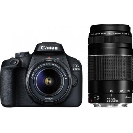 Spoguļkameras - Canon EOS 4000D + 18-55mm III + 75-300mm III Kit - ātri pasūtīt no ražotāja