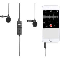 Mikrofoni - Boya Dual Lavalier microphone for Smartphone, DSLR, Camcorders, PC - buy today in store and with delivery