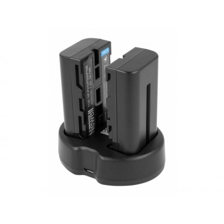 Chargers for Camera Batteries - Newell Set SDC-USB two-channel charger and two NP-F570 batteries for viewing monitors and LED lamps - quick order from manufacturer