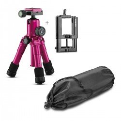 Tripod For Mobile Phones - Mini Tripod Glamour Pink + Mountings Kaleido Mantona 21673 - quick order from manufacturer
