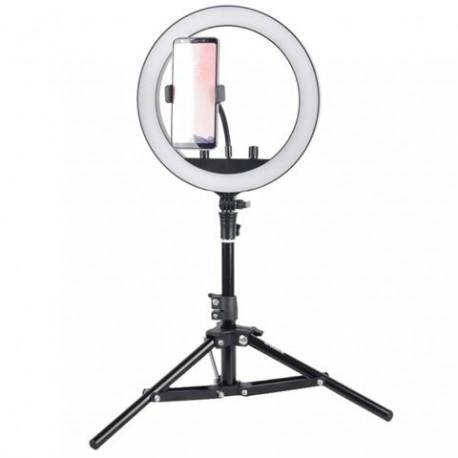 Gredzenveida LED lampas - StudioKing SKRL10 LED gredzenveida bi-color dimējama lampa ar galda statīvu - perc šodien veikalā un ar piegādi