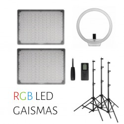 Video gaismas - 3 RGB LED gaismu komplekts - divi Yongnuo YN-600 RGB paneļi un YN-608 RGB apaļa gaisma noma