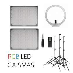 Video lights - 3 RGB LED light set - double Yongnuo YN-600 RGB LED and YN-608 RGB ring light rent