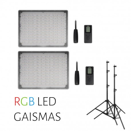 Video gaismas - Divu Yongnuo LED Light YN-600 RGB - WB (3200 K - 5500 K) daismu komplekta noma