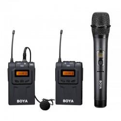 Mikrofoni - Boya UHF Lavalier bezvadu radio mikrofons BY-WM6 ar rokas mikrofonu - perc šodien veikalā un ar piegādi