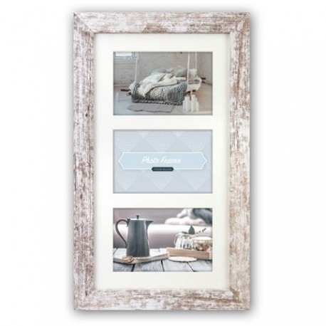Photography Gift - Zep Photo Frame V23106 Nelson 6 3Q White Wash for 3 Photos - quick order from manufacturer