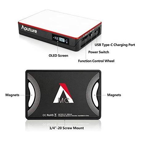 LED uz kameras - Aputure Amaran AL-MC RGBWW Mini On Camera LED light 3200K-6500K CRI TLCI 96+ HSI Mode Magnetic APP - perc šodien veikalā un ar piegādi