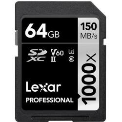 Atmiņas kartes - LEXAR PRO 1000X SDHC UHS-II U3 (V60) R150/W90 64GB - perc šodien veikalā un ar piegādi