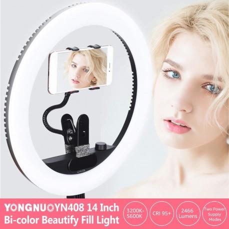 """Ring"" pastāvīgā gaisma - Yongnuo YN408 LED Ring Light – WB (3200 K – 5500 K) - perc šodien veikalā un ar piegādi"