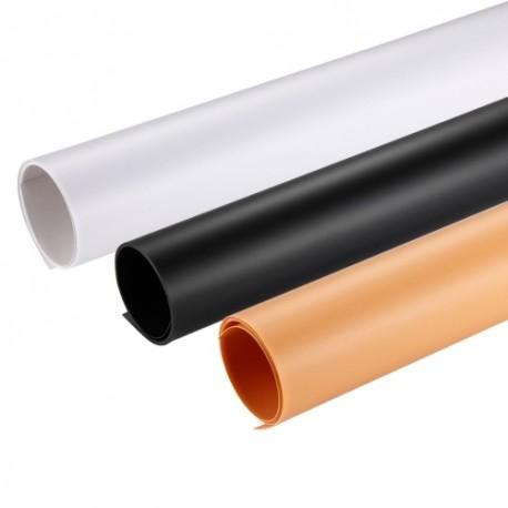 Foto foni - PVC background Puluz 73.5cm x 37.5cm 3x set white, black yellow PKT5201 - perc šodien veikalā un ar piegādi