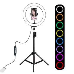 Ring Light - Puluz 10 inch 26cm RGBW LED Ring Vlogging Video Light Live 1,1m Tripod Mount PKT3044 - buy today in store and with delivery
