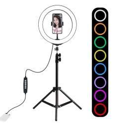 LED Gredzenveida lampas - Puluz 10 inch 26cm RGBW LED Ring Vlogging Video Light Live 1,1m Tripod Mount PKT3044 - perc šodien veikalā un ar piegādi