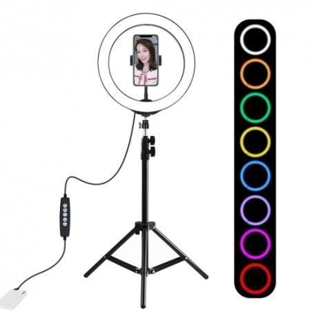 Gredzenveida LED lampas - Puluz 10 inch 26cm RGBW LED Ring Vlogging Video Light Live 1,1m Tripod Mount PKT3044 - perc šodien veikalā un ar piegādi