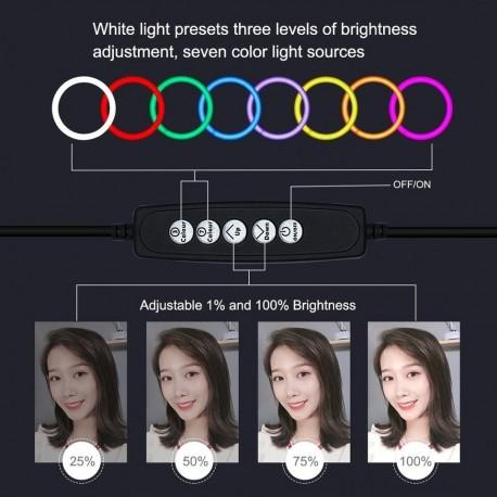 """""""Ring"""" pastāvīgā gaisma - Puluz 10 inch 26cm RGBW LED Ring Vlogging Video Light Live 1,1m Tripod Mount - perc šodien veikalā un ar piegādi"""