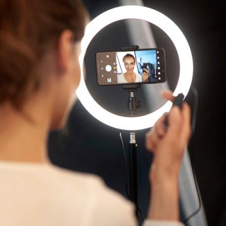 Gredzenveida LED lampas - Newell RL-10A LED gredzenveida dimējama bi-color lampa ar statīvu un viedtālruņa - perc šodien veikalā un ar piegādi