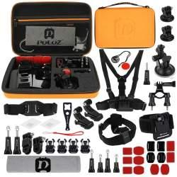 Action kameru aksesuāri - Puluz Set of 45 accessories for sports cameras PKT28 Combo Kits - perc šodien veikalā un ar piegādi
