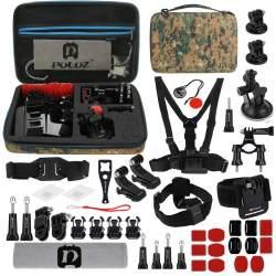 Action kameru aksesuāri - Puluz Set of 45 accessories for sports cameras PKT29 Combo Kits - perc šodien veikalā un ar piegādi