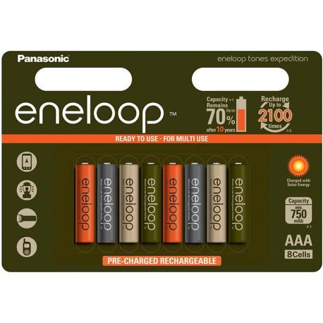 Baterijas, akumulatori un lādētāji - Panasonic Eneloop AAA 800mAh/2100mAh 1.2V NiMH Tones Expedition edition 8 gab - perc šodien veikalā un ar piegādi