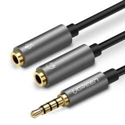Аксессуары для микрофонов - UGREEN 3.5mm Male to Dual 3.5mm Female Headset Splitter (dark grey) 30619 - купить сегодня в магазине и с доставкой