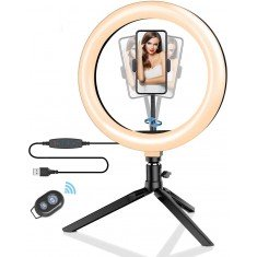 Blitzwolf BW-SL3 LED dimmable bi-color LED ring light with stand and smartphone
