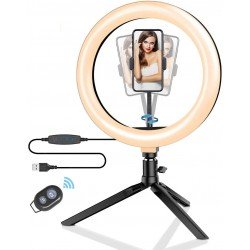 Ring Light - Blitzwolf BW-SL3 LED dimmable bi-color LED ring light with stand and smartphone - buy today in store and with delivery
