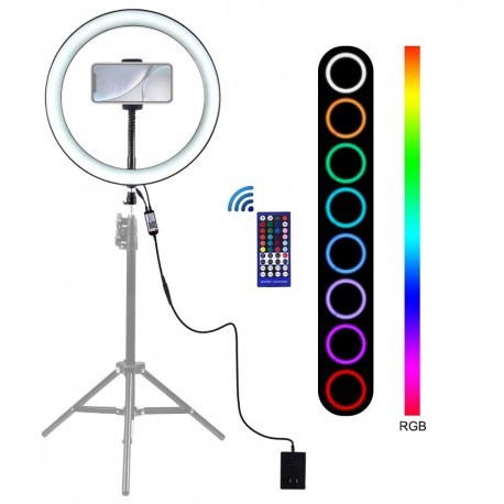 30cm RGB Dimmable LED Vlogging Ring with Cold Shoe PULUZ for Smartphones (PU411E