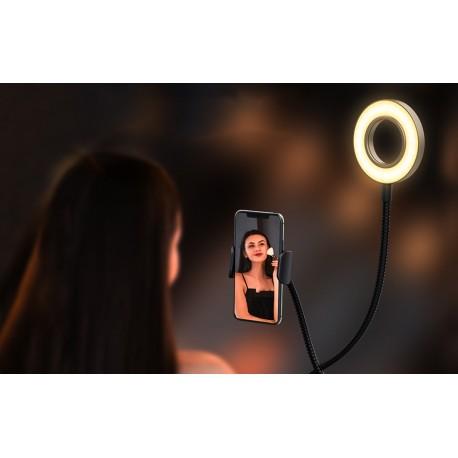 Gredzenveida LED lampas - Blitzwolf BW-SL6 LED gredzenveida dimējama bi-color lampa ar viedtālruņa turētāju - perc šodien veikalā un ar piegādi
