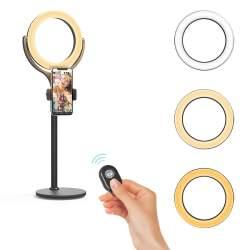 Gredzenveida LED lampas - Blitzwolf BW-SL4 LED gredzenveida dimējama bi-color lampa ar galda statīvu - perc šodien veikalā un ar piegādi