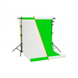 Backgrounds and supports - Chroma Green / White vinyl background roll with tripod set rent