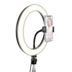 Gredzenveida LED lampas - StudioKing RL10-USB LED gredzenveida dimējama bi-color lampa ar viedtālruņu - perc šodien veikalā un ar piegādi