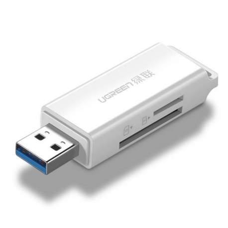 Atmiņas kartes - UGREEN CM104 SD/microSD USB 3.0 memory card reader (white) (40753) - perc šodien veikalā un ar piegādi