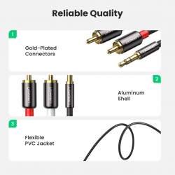 UGREEN 3.5mm male to 2 RCA male cable 2m (black) 10584