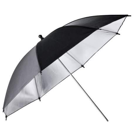 Foto lietussargi - Godox UB-002 Black and Silver Umbrella (101cm) - купить сегодня в магазине и с доставкой