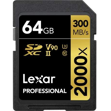 Карты памяти - LEXAR PRO 2000X SDHC/SDXC UHS-II U3(V90) R300/W260 (W/O CARDREADER) 64GB LSD2000064G-BNNNG - купить сегодня в магазине и с доставкой