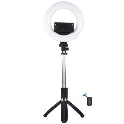 Gredzenveida LED lampas - Puluz LED ring light 16cm Selfie stick tripod 3in1 PU531B - perc šodien veikalā un ar piegādi