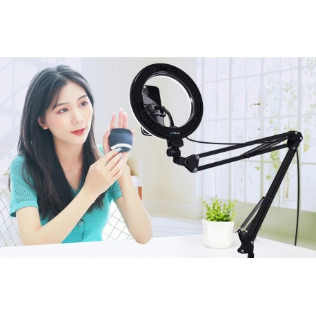 Gredzenveida LED lampas - Puluz Foldable arm stand 10 inch 26cm bi-color LED Ring Vlogging Video Light Live PKT3090B - perc šodien veikalā un ar piegādi