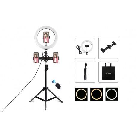 Gredzenveida LED lampas - Puluz 1,1m Tripod Mount + 10 inch 26cm RGBW LED Ring Vlogging Video Light Live Tripple phone holder PKT3070B - perc šodien veikalā un ar piegādi