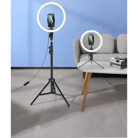 LED Gredzenveida lampas - Baseus 10-inch bi-color Light Ring Table Stand Livestream phone Holder - perc šodien veikalā un ar piegādi
