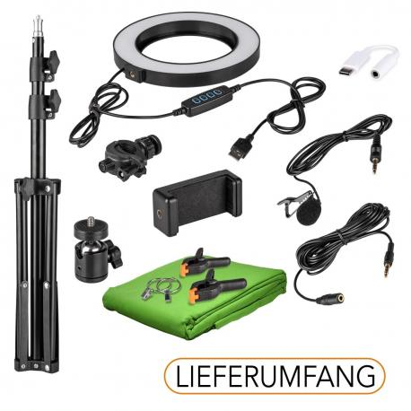 HomeStudio Starter-Kit Ring Light phone holder tripod microphone levalier USB-C adapter green chromakey background