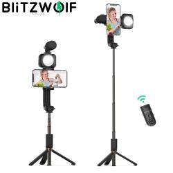 BlitzWolf BW-BS15 Stable Tripod Selfie Stick Fill Light and Microphone